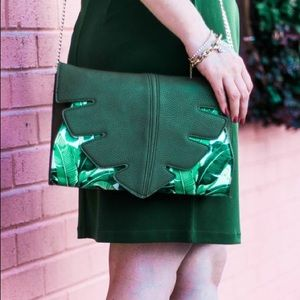 Tropical Leaf Printed Clutch